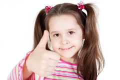 Little girl with the thumb up Stock Photos