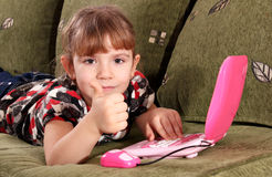 Little girl with thumb up Stock Photo