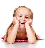 Little girl with thumbs. Up isolated on white Stock Photography