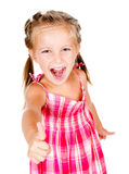 Little girl with thumbs Royalty Free Stock Photos