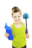 Little girl with toilet brush / little housewife Stock Images