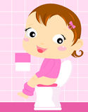 Little girl toilet painting Royalty Free Stock Photo