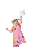 Little girl with toilet paper Royalty Free Stock Photography