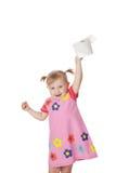 Little girl with toilet paper. Studio shot of little girl with toilet paper royalty free stock photography