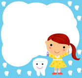A Little Girl and Tooth Stock Images