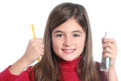 Little girl with toothbrush Stock Photos