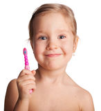 Little girl with toothbrush Royalty Free Stock Image