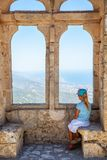 Little girl on the top of St. Hillarion castle in North Cyprus royalty free stock photos