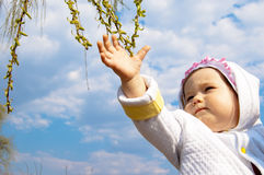 Little girl touching green buds. On blue sky background Royalty Free Stock Photos