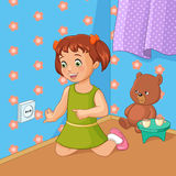 Little girl touching socket. Vector illustration. Little girl touching socket. Cartoon style vector illustration Royalty Free Stock Photo