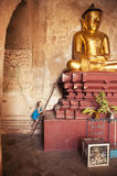 Little girl (tourist) in Bagan temple, Burma. Stock Image