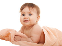 Little girl on a towel Stock Photo