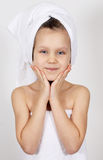 Little girl with a towel Stock Image
