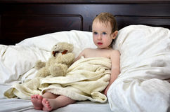 Little girl in a towel after a shower Royalty Free Stock Photography
