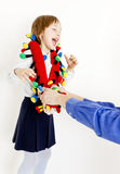 Little girl with a toy Royalty Free Stock Images