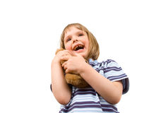 Little girl with toy Royalty Free Stock Photo