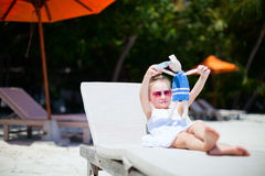 Little girl with toy at beach Royalty Free Stock Images