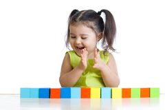 Little girl with toy blocks Royalty Free Stock Photography