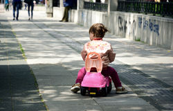 Little girl with toy car Stock Image
