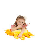Little girl with toy lying on the floor isolated Royalty Free Stock Images