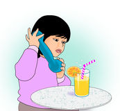 Little Girl with Toy Phone Stock Image