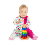 Little Girl with Toy Pyramid Stock Images