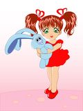 Little girl with a toy rabbit Stock Image