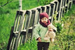 Little girl on a spring walk in the Park Royalty Free Stock Image