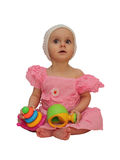 Little girl with toys Royalty Free Stock Images