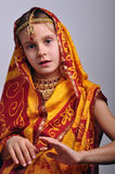 Little girl in traditional Indian clothing and jeweleries Stock Images