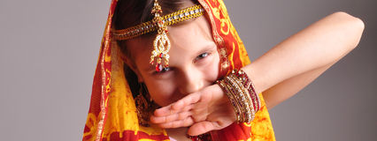 Little girl in traditional Indian clothing and jew Royalty Free Stock Photography