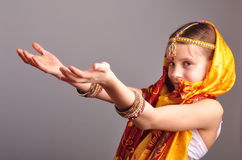 Little girl in traditional Indian clothing and jeweleries Royalty Free Stock Photos