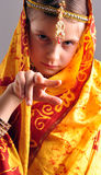 Little girl in traditional Indian clothing and jeweleries Stock Photography