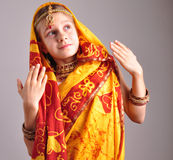 Little girl in traditional Indian clothing and jeweleries Royalty Free Stock Photography