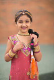 Little Girl in Traditional Indian Costume Stock Photo