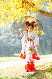 Little girl in traditional Japanese kimono Stock Photography