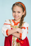 Little girl in traditional Russian folk costume. Girl seven years stock image