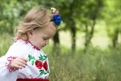 Little girl in traditional Ukrainian costume Royalty Free Stock Image