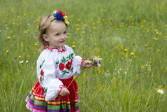 Little girl in traditional Ukrainian costume Stock Photos