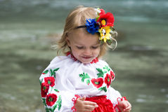 Little girl in traditional Ukrainian costume. Little girl 2 years in Ukrainian traditional dress Royalty Free Stock Images