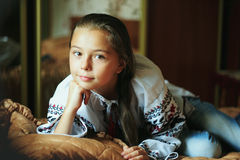 Little girl  with traditional Ukrainian shirt Royalty Free Stock Images