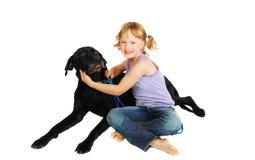 Little girl training her dog stock photos