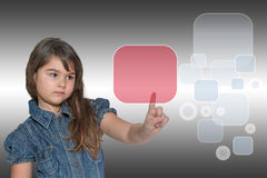 Little girl and transparent rectangle touchscreen concept Royalty Free Stock Images
