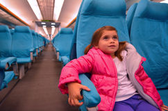 Little girl travel on Shanghai Maglev Train Stock Photography