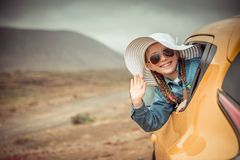 Little girl traveling by car Royalty Free Stock Photo