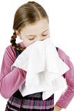 Little girl treat a runny nose Stock Photos
