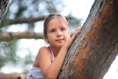 The little girl on a tree Stock Images