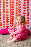 Little girl in  trendy sportswear Stock Images