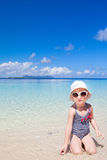 Little girl at tropical beach Stock Photography