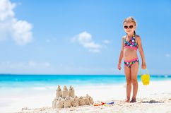 Little girl at tropical beach Royalty Free Stock Photos
